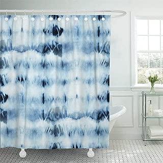 Emvency Fabric Shower Curtain with Hooks Tie Dye of Indigo Color on White Silk Hand Painting Fabrics Nodular Batik Shibori 60
