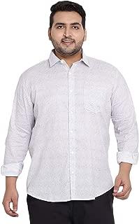 JOHN PRIDE Men's Plus Size Regular fit Cotton Off White Full Sleeve Printed Shirt