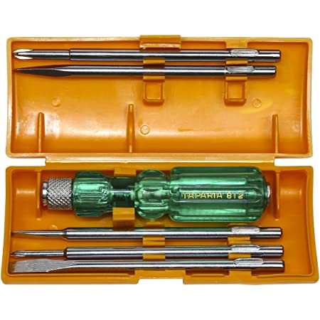 Taparia 812 Screw Driver Set with Neon Bulb, Silver & Green, 1 Piece