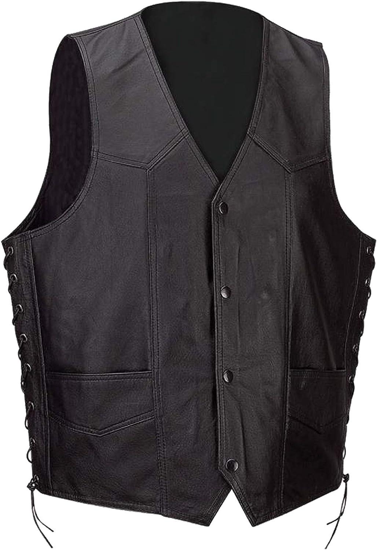 Classyak Men's Fashion Genuine Leather Vest