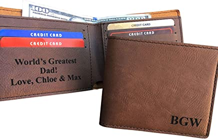 a3c513ea8ec Personalized Leather Bifold Wallet Monogrammed Custom Mens Wallet Gift  Brown Initials