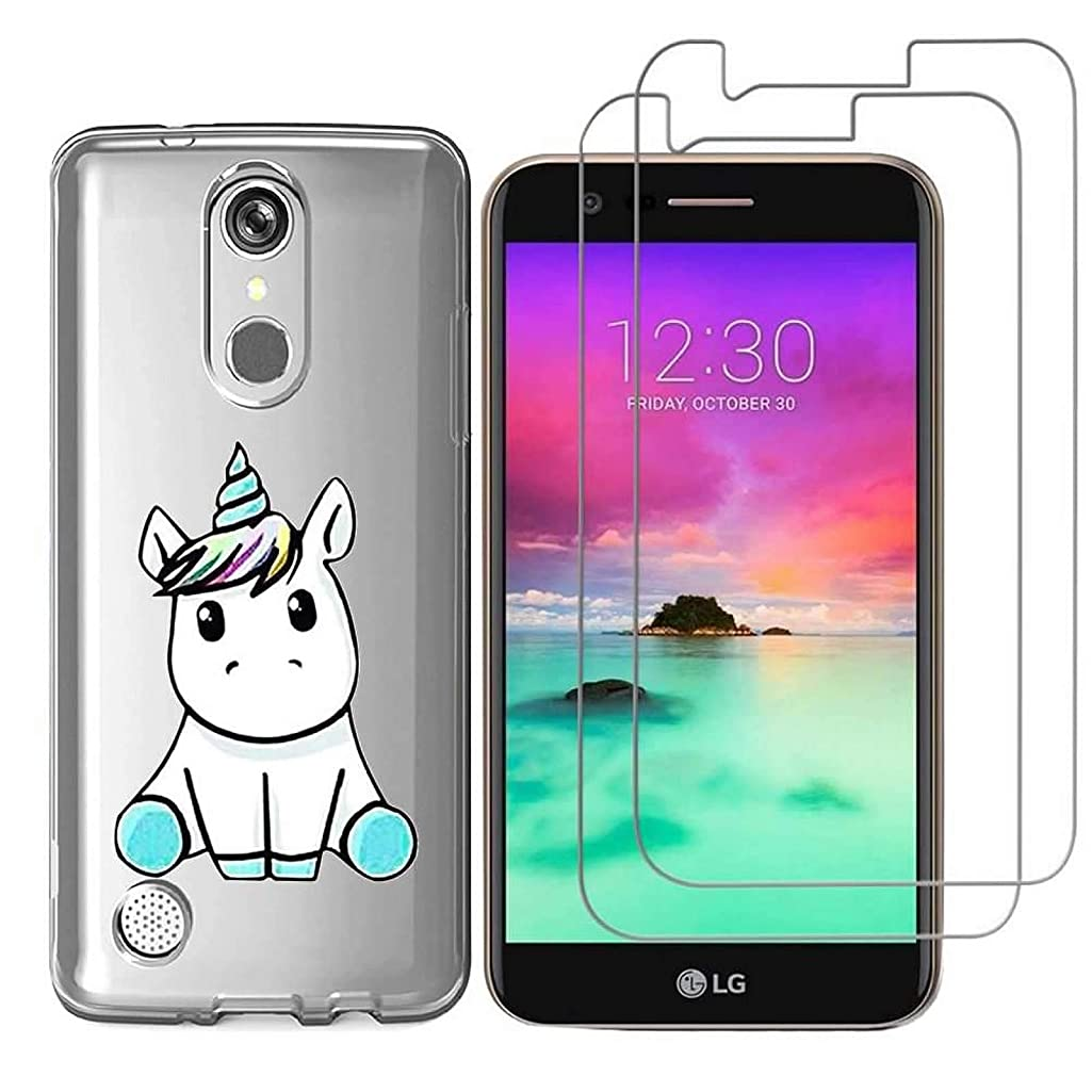 LG K10 2018 / LG K30 Case with 2 Pack Glass Screen Protector Phone Case for Men Women Girls Clear Soft TPU with Protective Bumper Cover Case for LG K10 2018 / LG K30-unicorn