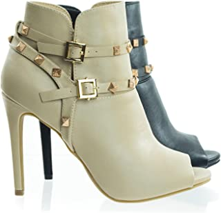 Anne Michelle Peep Toe Dress Ankle Bootie w Belted Detail & Pyramid Metal Studs