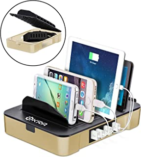 Okra USB Charging Station for Multiple Devices, 6 Port USB Wall Charger Charging Hub with Docking Station Organizer for Phone Tablet iPhone iPad (Gold)