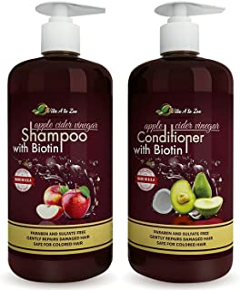 Apple Cider Vinegar & Biotin Shampoo & Conditioner | Infused with Aloe Vera Juice, Argon Oil & Saw Palmetto Extract | Bala...