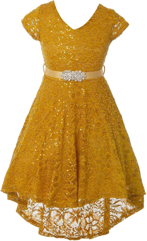 Little Girls Cap Sleeve V Neck Sequin Lace Christmas Wedding Flower Girl Dress