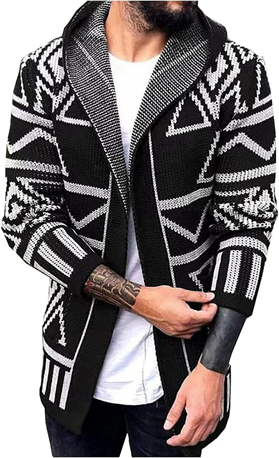 Huangse Men's Long Sleeve Draped Lightweight Open Front Hooded Cardigan Wool Plaid Trench Coat with Hood Knit Long Cardigan