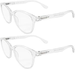 LIANDU Paquete de 2 Gafas de Lectura de Moda Para Mujer Bisagras de Primavera Gafas de Lectura Lectores Coloridos Para Mujeres Modelo HR3009 (Transparente)+1.5
