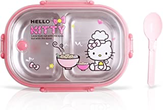Finex Hello Kitty Chef Pink Bento Box Stainless Steel Container Set with Clear Lid & Spoon