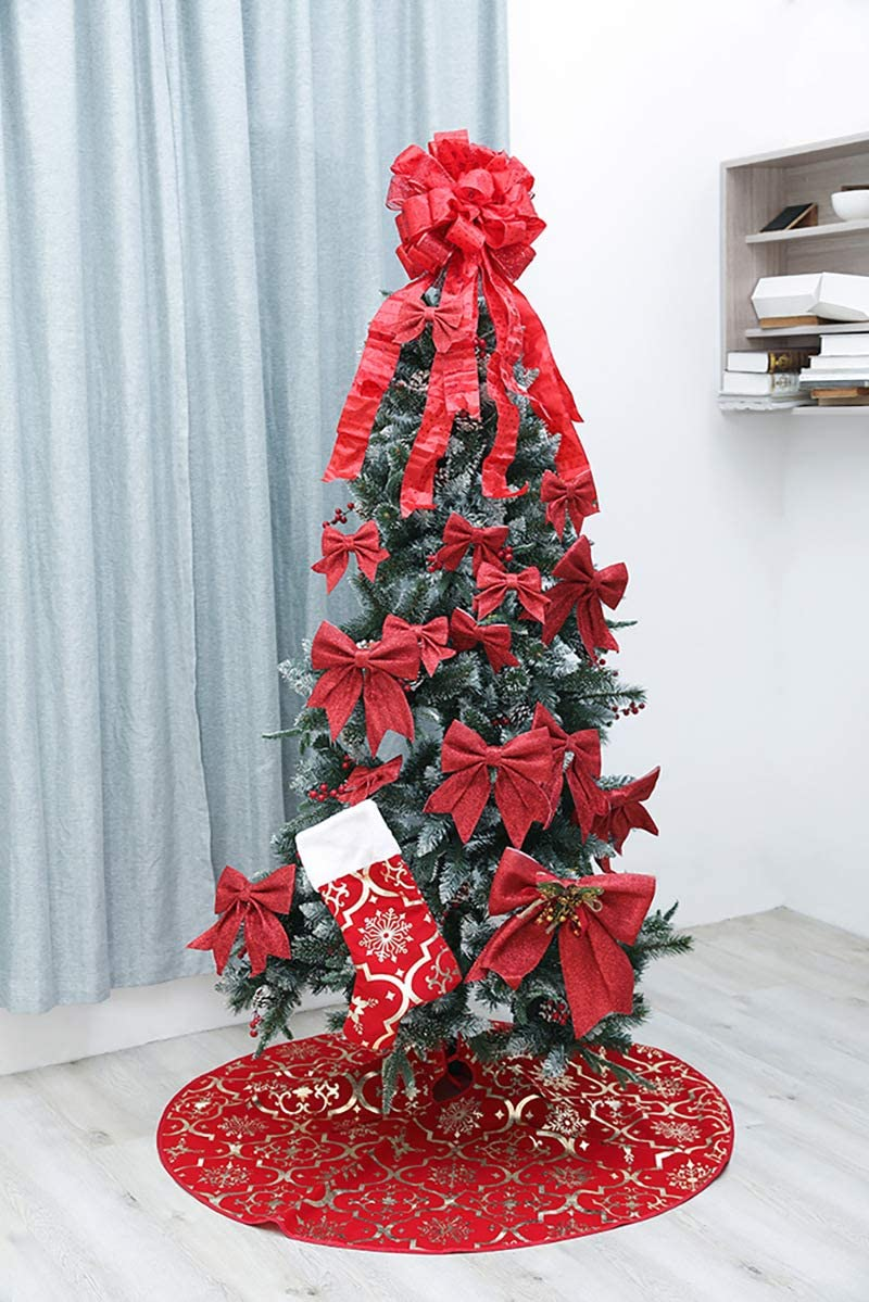 48 inch Luxury Red//Gold Gilded/Large Xmas Tree Skirts with Merry Christmas Stocking for Happy New Year Party Holiday Decorations Ornaments Gold Leap KOI Snowflake Christmas Tree Skirt