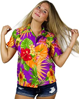 KAMEHAMEHA King Kameha Funky Hawaiian Shirt Blouse Women Shortsleeve Frontpocket Hawaiian-Print Leaves Flowers Pineapple