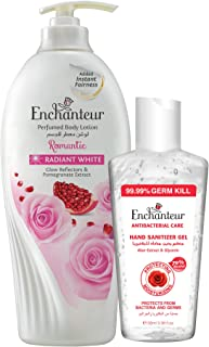 Enchanteur Radiant White Lotion 500Ml + Free 100Ml Ench Sanitizer Gel (Romantic+Sanitizer Gel)