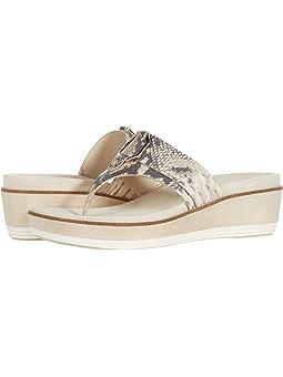 콜한 샌들 Cole Haan Originalgrand Flatform Thong Sandal,Python Printed Leather/Cement Nylon Wedge/Ivory Mi