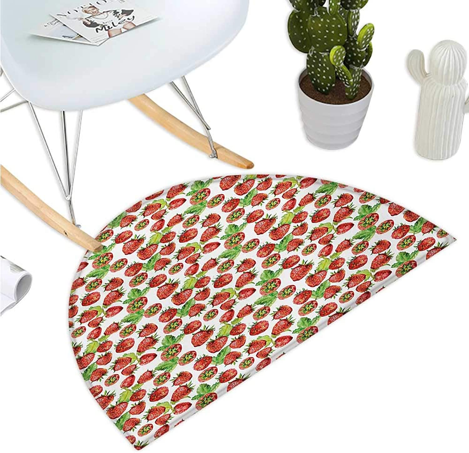 Kitchen Semicircle Doormat Vibrant Strawberry Figures Watercolor Stylized Yummy Cute Sweet Fruits Artwork Entry Door Mat H 39.3  xD 59  Lime Green Red