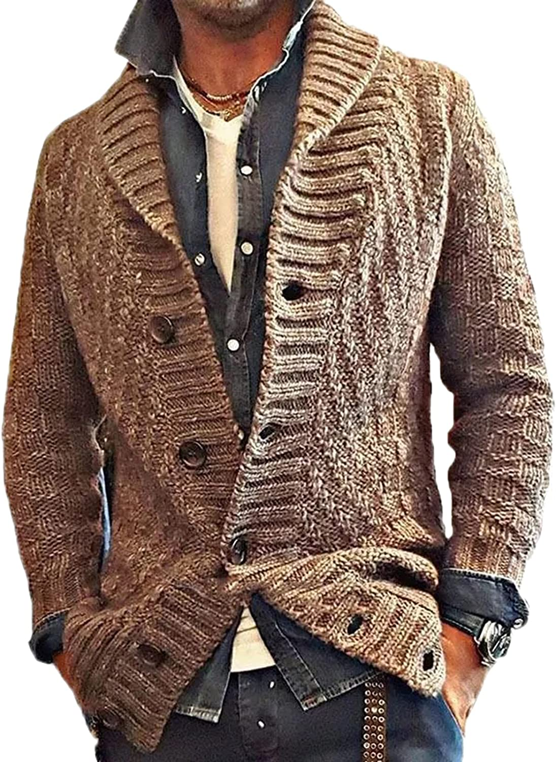 Mens Casual Cardigans Cable Knit Cardigan Sweater Shawl Collar Long Sleeve Sweater