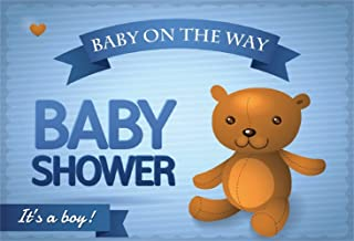 Laeacco Baby Shower Backdrops 5x3ft Vinyl Photography Background Welcome Baby Coming Backdrops Baby on The Way It's a Boy Cartoon Bear Blue Background Cute Baby Kids Photo Portrait