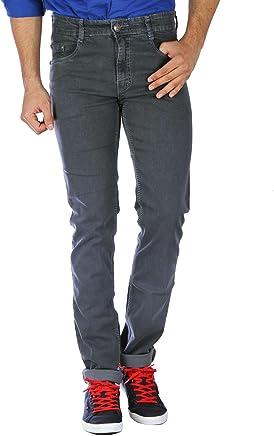 STUDIO NEXX Men's Regular Fit Stretchable Jeans (Grey)