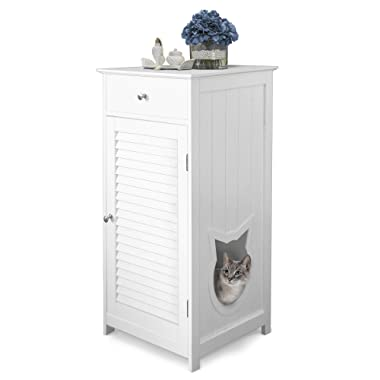 Penn-Plax Cat Walk Furniture: Contemporary Home Cat Litter Enclosure - Storage Drawer, Inner Shelf, and Shutter Style Door