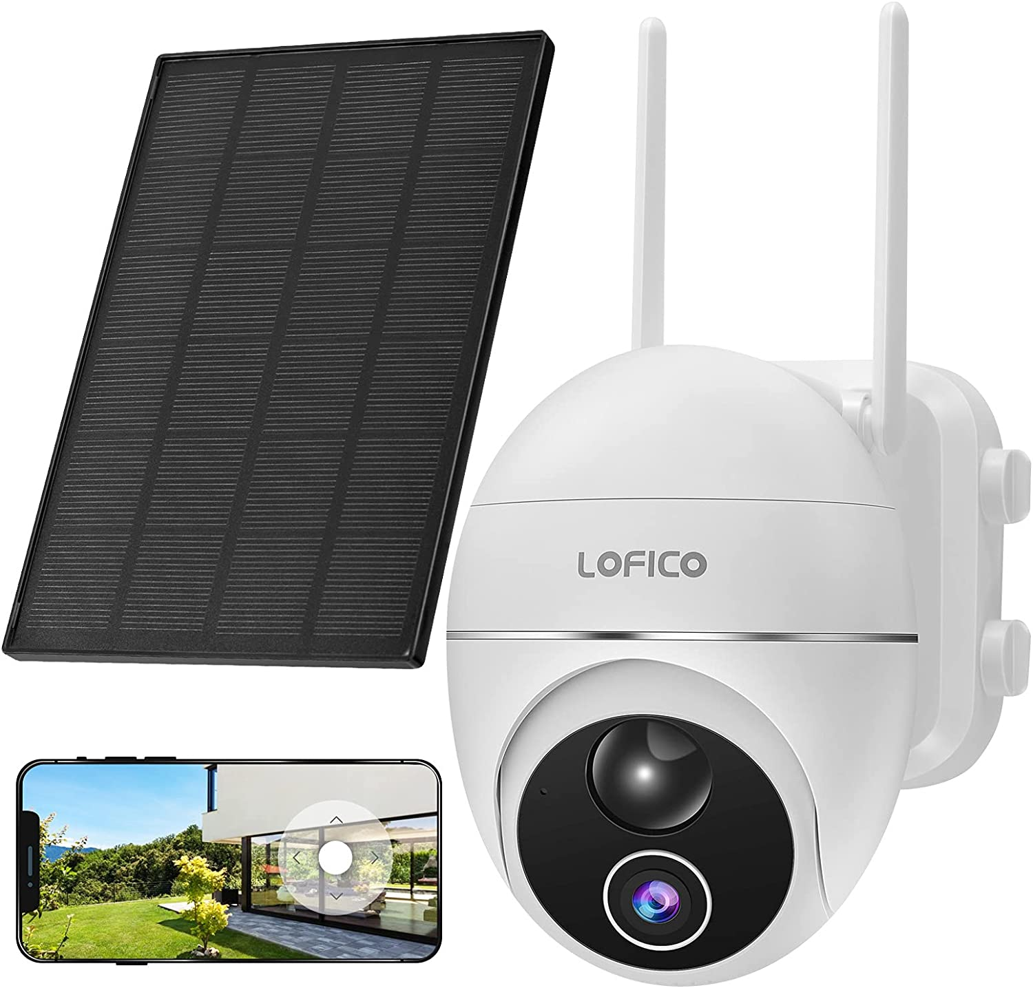 Security Camera Outdoor, LOFICO Outdoor Camera 360°PTZ , Solar Panel 15000mAh Rechargeable Battery Power, Security Cameras Wireless Outdoor with 1080P Night Vision, 2-Way Audio, PIR Motion Detection