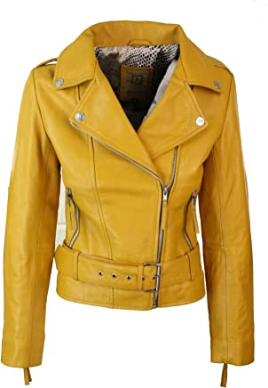Aviatrix Ladies Womens Yellow Real Leather Slim Fit Soft Zip Biker Style Jacket