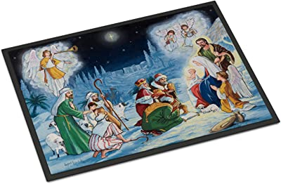 Caroline's Treasures Nativity Born in Bethlehem Door Mat doormats, Multicolor
