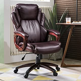 ovios Executive Office Chair,High Back Desk Chair,Leather Computer Desk Chair for Home Office. (Dark Brown)