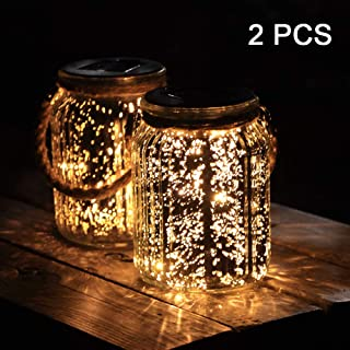 Hanging Solar Lantern Lights Outdoor 2 Pack,20 LED Solar Mercury Glass Mason Jar Hanging Lights Waterproof for Tree, Table, Yard, Garden, Patio, Holiday Party Outdoor Decor,Warm White