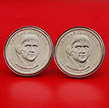 US 2007 Presidential Dollar BU Uncirculated Coin Silver Plated Cufflinks NEW - Thomas Jefferson (1801~1809 Years Served) Obverses
