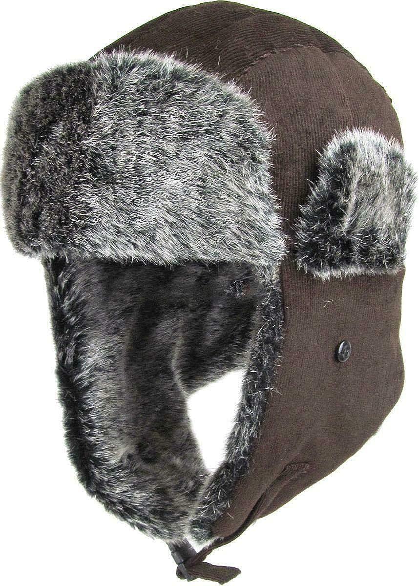 Ski Warm Fur Cap Corduroy Aviator Trapper Hat Winter Cap Corduroy Aviator Trapper Hat KBOS-RR