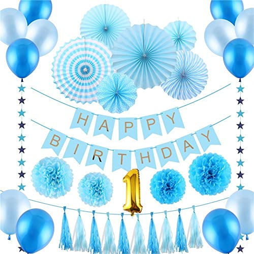 LOKIPA Happy Birthday Decoration Blue Paper Pom Poms Fans Tassels Balloons Banner