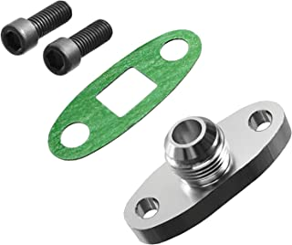 PitVisit -10AN Fitting Turbo Oil Flange Adapter Kit with Gasket and Bolts (.4740 Inch Outlet)
