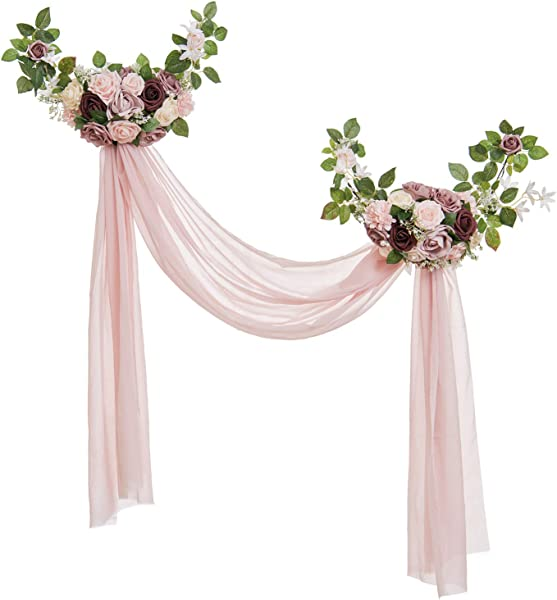 Ling S Moment Delicate Dusty Rose Style Artificial Rose Flower Swags And Garlands With Dusty Pink Sheer Swag Pack Of 2 For Wedding Arch Wall Door Decorations