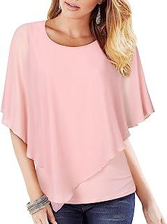 Lotusmile Women's Lightweight Flowy Shirt Double-Layered Printed Chiffon Poncho Blouse Top