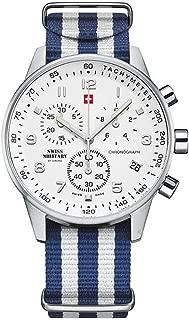 Swiss military Mens Analog Quartz Watch with Nylon Bracelet SM34012.15