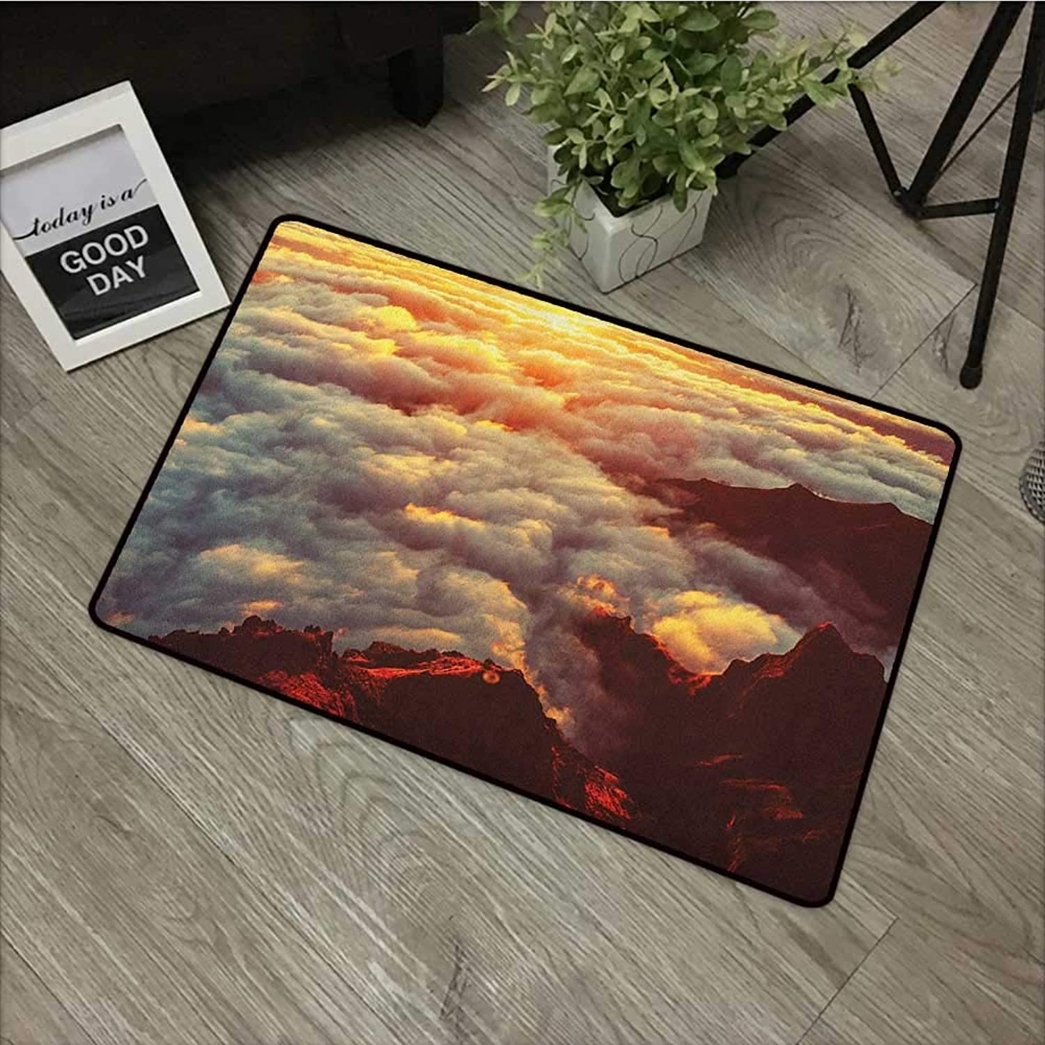 Floor mat W35 x L59 INCH Clouds,Sunset on the Hill Tops above the Clouds Unusual Extreme Morning Glory Print, orange White Brown Natural dye printing to predect your baby's skin Non-slip Door Mat Carp
