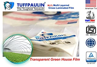 TUFFPAULIN (40x30 ft, Transparent) Tarpaulin Sheet Waterproof |UV Treated|Multi Layered-Cross Laminated|Virgin Plastic Extra Strong Tirpal Tarpal IS14611:2016 Approved (150 GSM)
