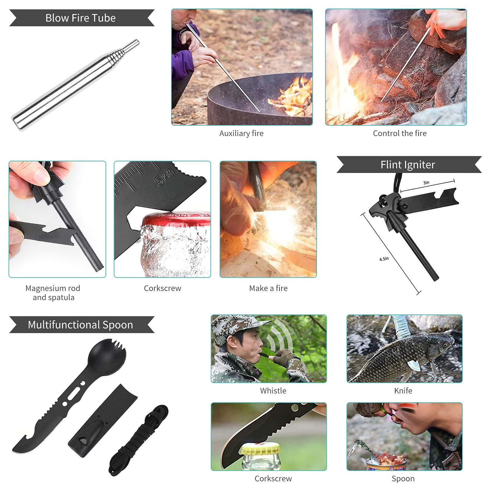 Survival Gear Equipment Outdoor Survival Kit, Cool Gadgets Gifts for Men Dad Teenage Boy, Christmas Stocking Stuffers 15 in 1 Camping Accessories, Gift Ideas for Field Hiking Adventure Hunting Lovers
