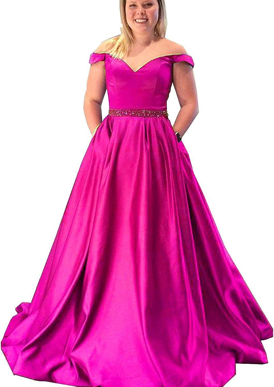 Hjtrust Women's Off Shoulder Prom Dresses Long 2018 Formal Dresses Evening Gowns for Party H087