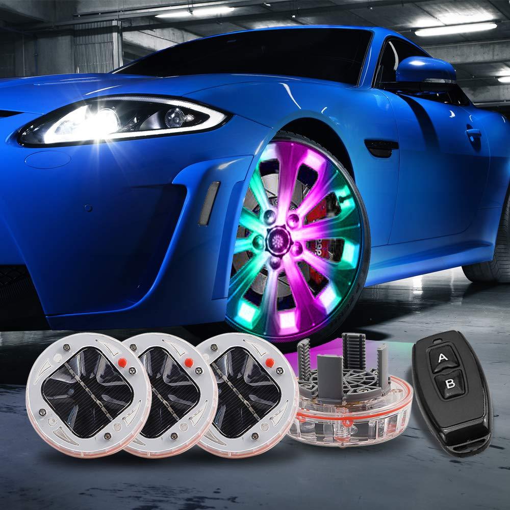 cciyu 4 Pack Car Wheel Rim Light Waterproof Solar Energy LED Flashing Lights Car Tyre Decoration Accessories