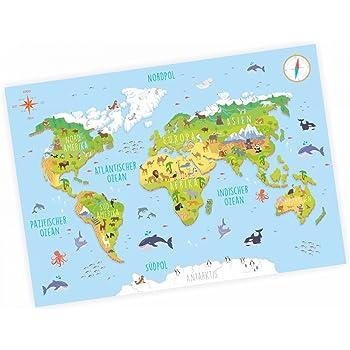 nikima – Niños Mapa del Mundo 3d en 3 tamaños A3/A2/A1 Póster Animales Tierra – cuadro