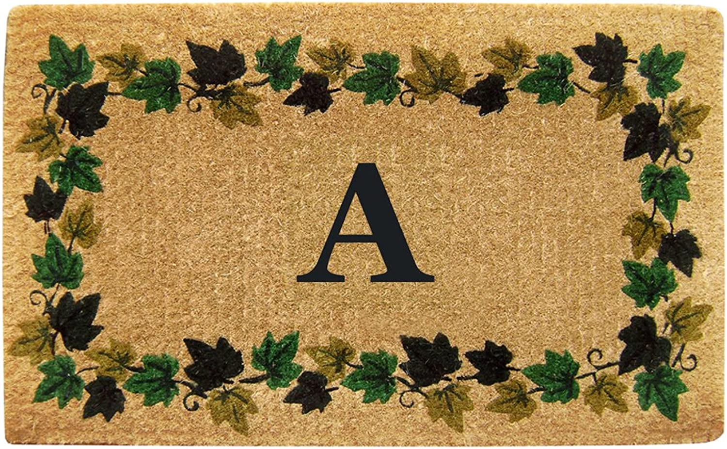 Nedia Home Heavy Duty Coco Mat with Ivy Vine Border, 22 by 36-Inch, Monogrammed A