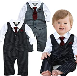 Baby Tie Striped Vest Formal Wear Wedding Baby Boy Romper Oneise