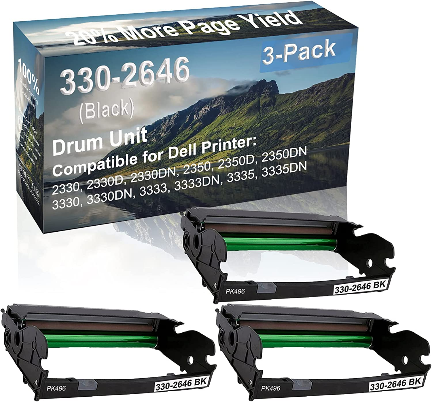 3-Pack Compatible Drum Unit (Black) Replacement for Dell 330-2646 Drum Kit use for Dell 3333, 3333DN, 3335, 3335DN Printer
