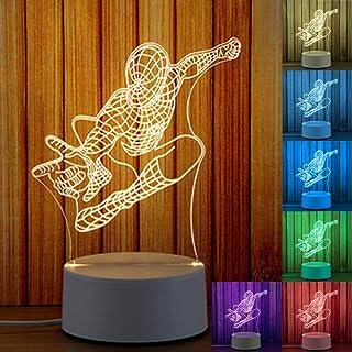 Lámpara 3D de noche 3D, ilusión 3D, lámpara de noche 3D, lámpara de mesita de noche, mesa de noche, 7 colores cambiantes, táctil + mando a distancia (Spiderman)