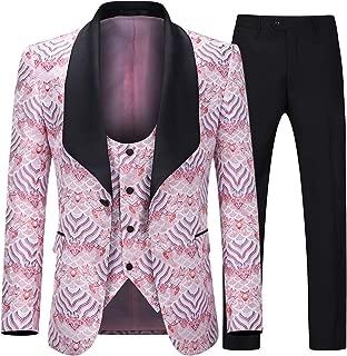 Boyland Men's 3 Pieces Tuxedo Suit Slim Fit Wide Shawl Lapel One Button Formalwear Tux Suit Jacket Vest Pants Party Dinner