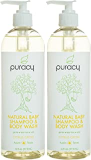 Puracy Natural Baby Shampoo & Body Wash, Tear-Free Soap, Sulfate-Free, 16 Ounce, (Pack of 2)