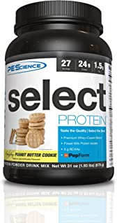 PEScience Select Protein, Peanut Butter Cookie, 27 Servings, Premium Whey and Casein Blend, 31 oz
