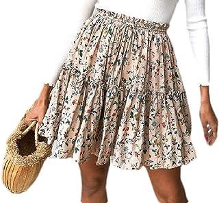 Xswsy XG Women's Summer High Rise Swing Beach Patterns Cute Ruffle-Skirt Mini-Skirts