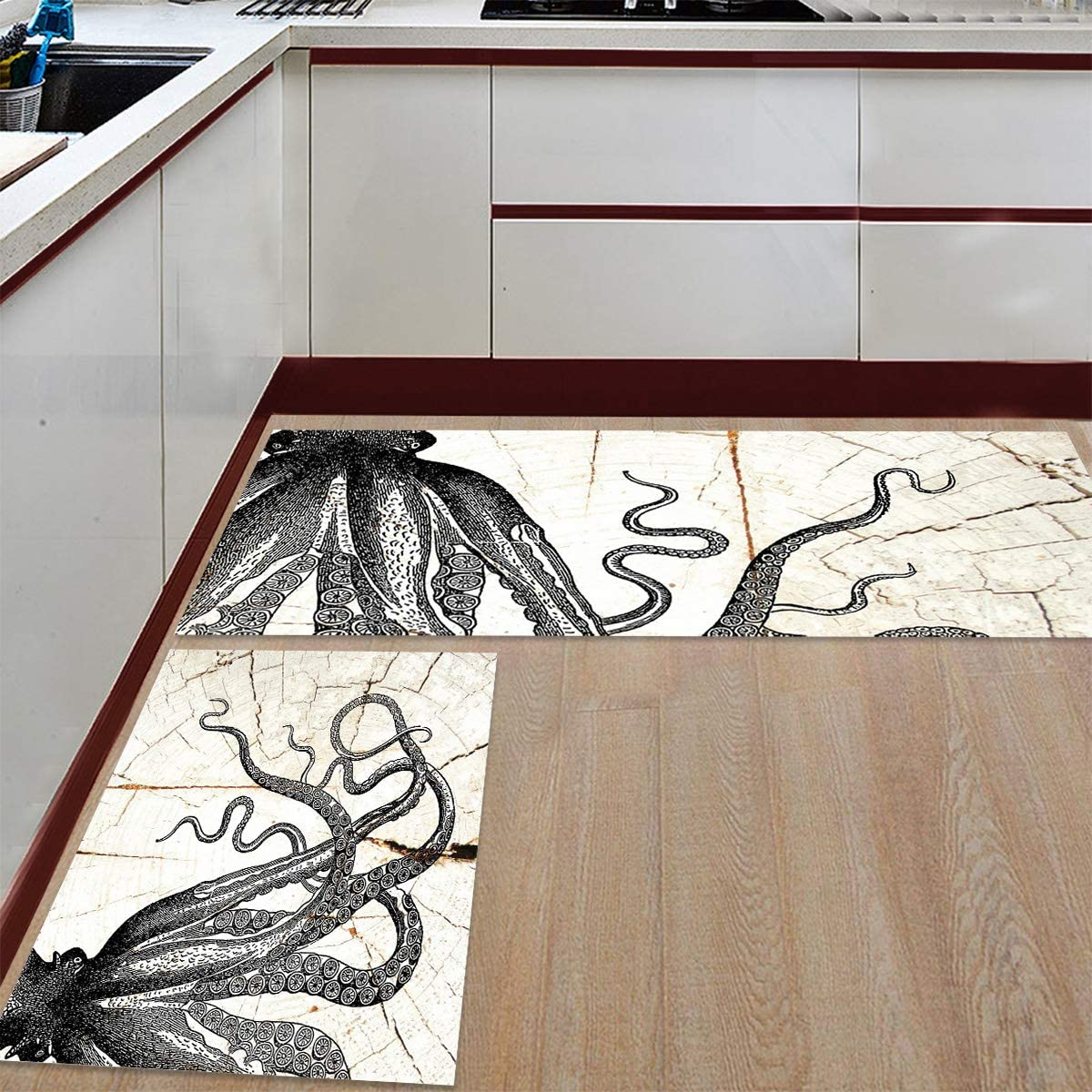 Advancey Ranking TOP16 2 Pieces Anti-Slip Kitchen Long Octopus Max 88% OFF Mats Black with