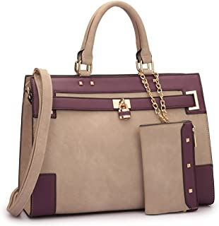 Fashion Handbags for Women Satchel Ladies Shoulder Bag Purse with Detachable Wallet